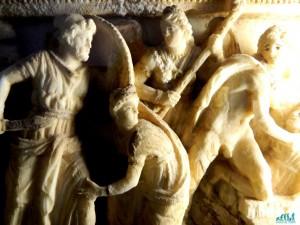 Particolare di urna in alabastro- Museo Guarnacci Volterra