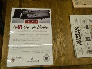 Hotel Astoria a Cremona- incontri letterari unAstoria con l'autore